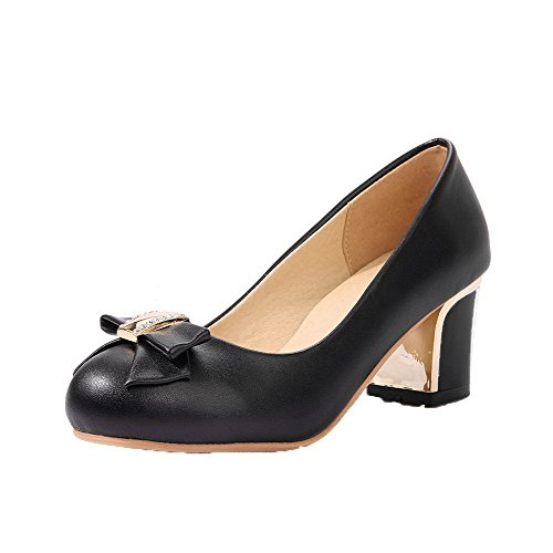 Odomolor Women's Round-Toe Kitten-Heels PU Solid Pull-On Pumps-Shoes, Black, 42