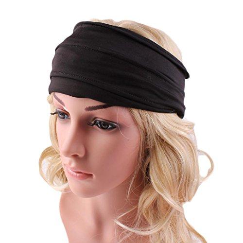VESNIBA Wide Headband Yoga Headband Boho Headband Running Headband (1223cm/4.79.1, Black)