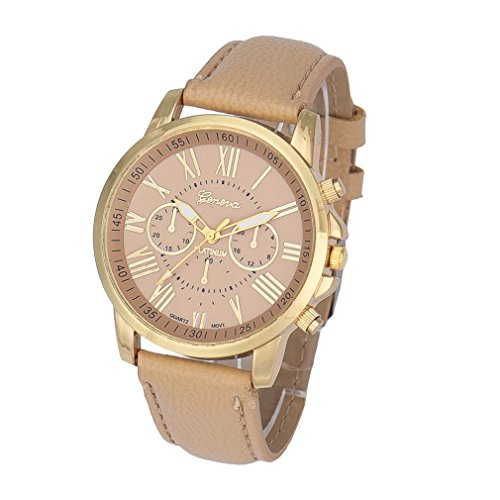 Winhurn Stylish Analog Quartz Faux Leather Women Wrist Watch with Roman Numerals (Polar Blood Pressure Watch)