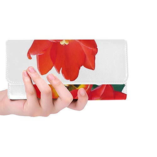 Unique Custom Tulip Red Spring Flower Strauss Blossom Bloom Women Trifold Wallet Long Purse Credit Card Holder Case Handbag