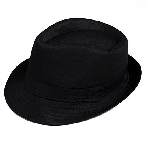 [HDE Kid's Short Brim Trilby Fedora Hat (Black)] (Fedora Gangster Hat)
