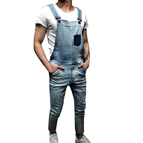 iHPH7 Jeans Men Loose-fit Carpenter Jean Men Overall Casual Jumpsuit Jeans Wash Broken Pocket Trousers Suspender Pants S Blue