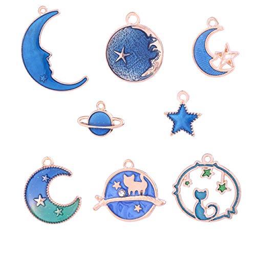 40pcs Enamel Cat Moon Star Earth Planet Pendant Dangle for Hook Earrings Necklace Jewelry Making Charms