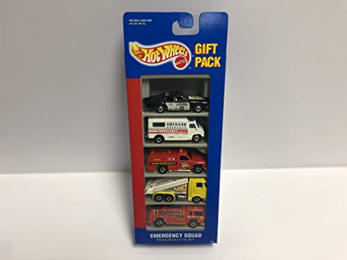 EMERGENCY SQUAD 1995 Mattel Hot Wheels Gift Pack 3870 with Police, Fire Engine, Tow Truck, Ambulance, Emergency Vehicle
