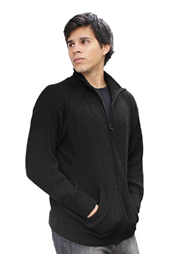Mens Alpaca Wool Warm And Soft Full Zip Knitted Jacket Sweater Coat (M, - Mens Sweater Alpaca