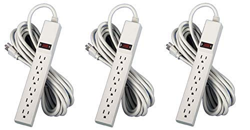 Fellowes 6-Outlet Office/Home Power Strip, 15 Foot Cord - Wall Mountable (99026) (Pack of 3)