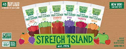 Real Fruit Snacks - Stretch Island Fruit Leather Snacks Variety Pack, 0.5 Ounce, Pack of 48