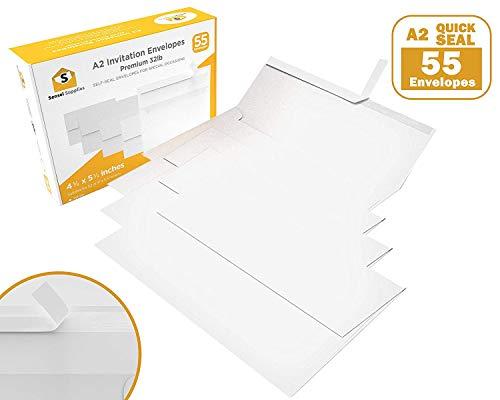 55 4 ⅜ x 5 ¾ White Invitation Envelopes - A2 - for Wedding Invites, RSVP, Greeting Cards, Photo Storage Mailing, Quarter Folded 8.5x11 Paper, 5.5 x 4 Inserts - ()