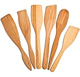 6 Wooden Spoons for Cooking - Healthy Nonstick Wooden Spatula and Spoons - Premium Cooking Utensils Set - Super Strong and Durable Made of 100% Natural Eco Hardwood Beechwood. (6 Spoons)