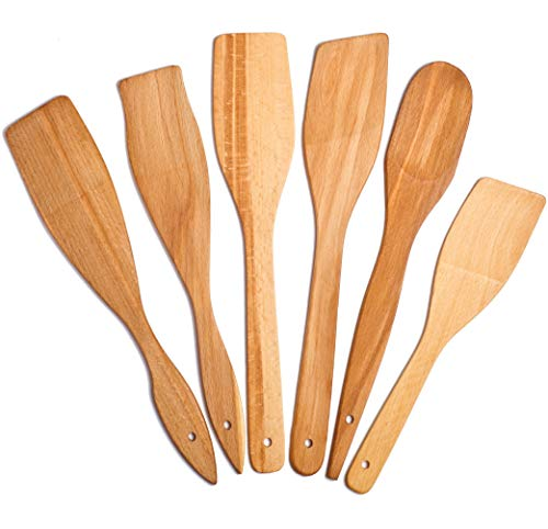 6 Wooden Spoons for Cooking - Healthy Nonstick Wooden Spatula and Spoons - Premium Cooking Utensils Set - Super Strong and Durable Made of 100% Natural Eco Hardwood Beechwood. (6 Spoons) (Cooking Wooden Utensils)