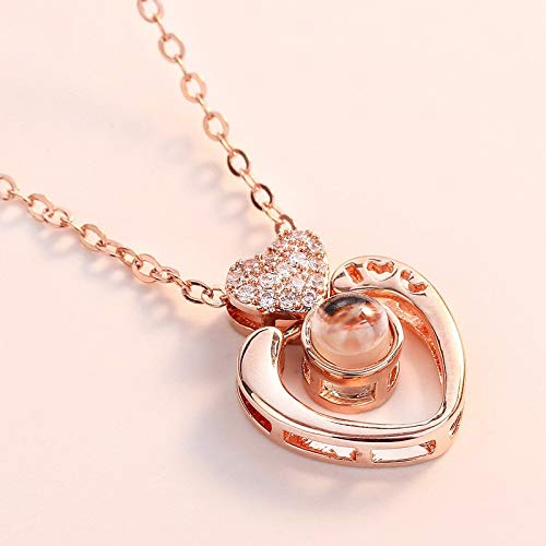 Haluoo 2019 New Love Heart Pendant Necklace for Women100 Languages I Love You Memory Collarbone Necklace Nano Projective Necklace Best Gift for Her (Rose Gold)