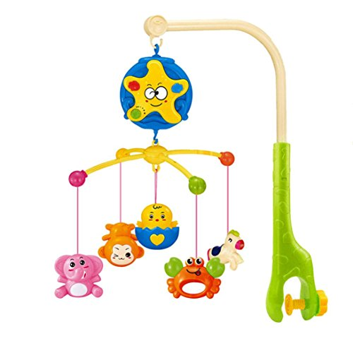 Baby Bed Bell , Sacow Baby Bedding Crib Musical Mobile with Hanging Rotating Soft Colorful Plastic (Musical Newborn Crib Mobile)