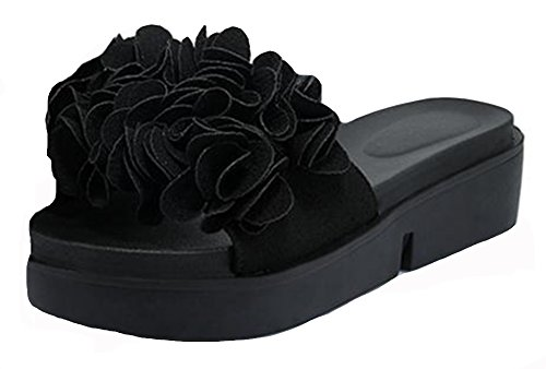 Easemax Womens Fleurs À La Mode Wedge Mule Sandales Noir