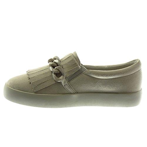 Zapatillas Gris Cadena Suela Cm Angkorly Tacón Mujer Deportivos 5 Fleco Moda De 2 Mocasines Plano qw8dpnU6d