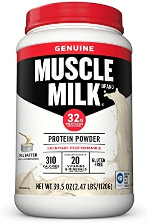 Muscle Milk Genuine Protein Powder, Cake Batter, 32g Protein, 2.47 Pound