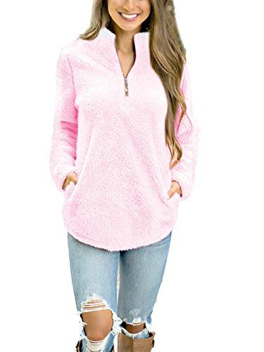 Dongpai Women's Fleece 1/4 Zip Long Sleeve Pullover Sweatshirt Solid Loose Jacket Coat