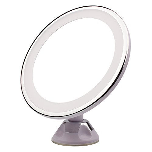 Raphycool 5x Magnifying Lighted Makeup Mirror 360 Degree Rotating, Wall Mounted Vanity Mirror Shower Mirror Bathroom Cosmetic Mirror with Power Locking Suction Cup for Makeup Tweezing Shaving (Circle Mirror Tray)