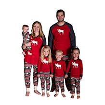 Family Matching Christmas Pajamas Moose Printed Sleepwear Sets for The Family