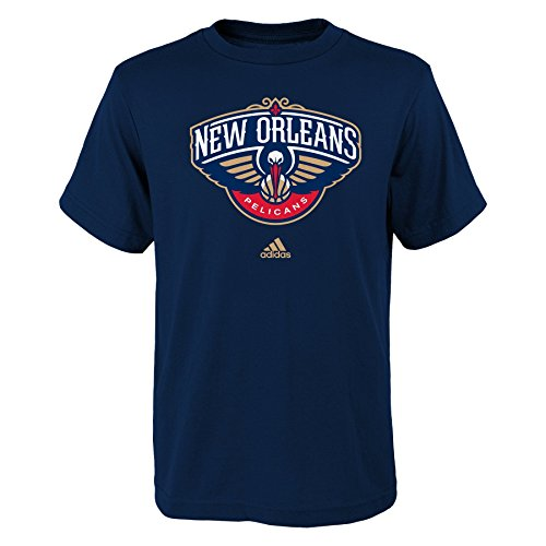 fan products of NBA New Orleans Pelicans Boys Youth Full Primary Logo Short Sleeve Tee, Medium (10-12), Navy