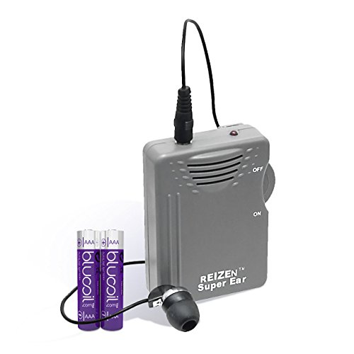 Reizen Loud Ear 110dB Gain Personal Amplifier PLUS TWO Extra Blucoil AAA batteries - VALUE BUNDLE