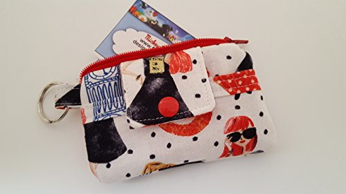 Zipper Mini Wallet Pouch Key Chain Fabric Card Holder Downtown Girl Teenager Telephone