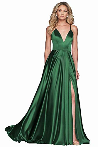 NMHY Women's Long Spaghetti Strap Prom Gowns V Neck Slit Formal Evening Dress with Pockets