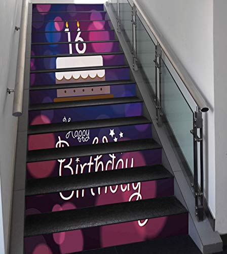 Stair Stickers Wall Stickers,13 PCS Self-adhesive,16th Birthday Decorations,Cake Candle Anniversary of Birth Best Wishes Young Image,Fuchsia Dark Blue,Stair Riser Decal for Living Room, Hall, Kids Roo