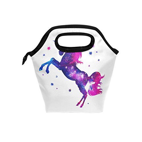 Cosmic Unicorn Stars Lunch Bag Tote Handbag lunchbox Food Container Gourmet Bento Coole Tote Cooler warm Pouch For Travel Picnic School Office