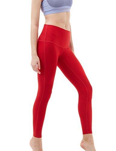 TSLA TM-FYP52-RED_X-Large Yoga Pants High-Waist Tummy Control w Hidden Pocket FYP52