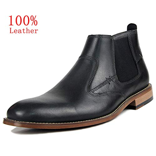 Todaysunny Chelsea Boots Men Leather Ankle Slip-on Boot Black Brown Formal Dress Casual Moccasins Shoes ()