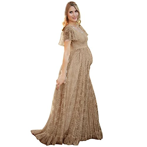 Sherostore ♡ Maternity Floral Lace Dress Maxi Split V Neck Flying Sleeves Front Gown Bridesmaid Pregnant Dress,Plus Size Coffee ()
