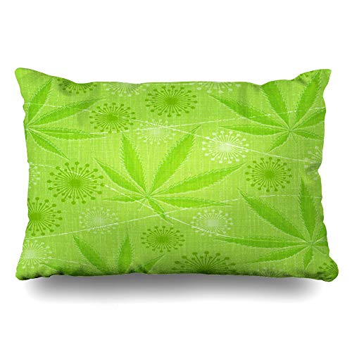 DIYCow Throw Pillows Covers Legalize Abstract Retro Cannabis Marijuana Leaves Leaf Pattern Nature Euphoria Pot Cushion Case Pillowcase Home Sofa Couch Standard Size 20 x 26 Inches Pillowslips