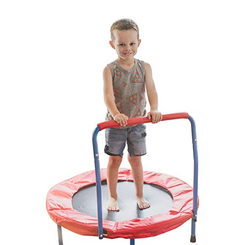 - Portable Kids Trampoline with Handle - 36 Inches Perfect for Indoor and Outdoor Use - Sturdy Durable Ensure Safety - Build Confidence and Cognitive and Physical Strength Activities - Easy to Assemble