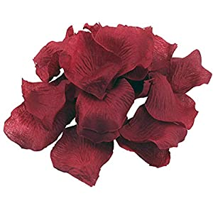 Hemore 10pack(1000pcs) Simulation Rose Petals Real Touch Artificial Petals Silk Fabric Flowers for Wedding Home Room Decor Wine Red 30