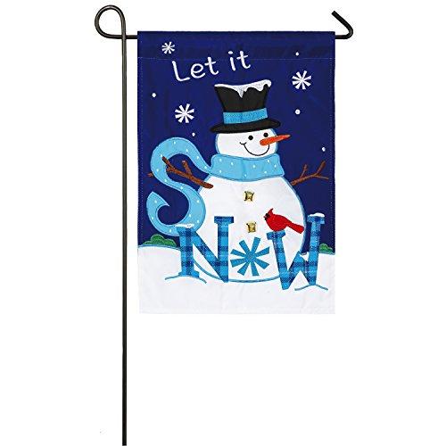 Evergreen Let it Snow, Snowman Outdoor Safe Double-Sided Applique Garden Flag, 12.5 x 18 inches (Snowman Applique)