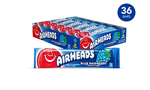 Airheads Candy, Individually Wrapped Bars, Blue Raspberry, Non Melting, Party, 0.55 Ounce (Pack of 36) ()