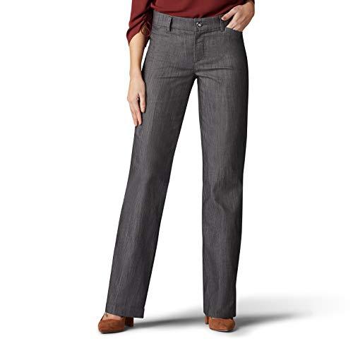 LEE Women's Flex Motion Regular Fit Trouser Pant, Carbon Rinse, 10 from LEE