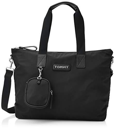 Tommy Hilfiger - Varsity Nylon Tote, Bolsos totes Mujer, Negro (Black), 15x31x48 cm (B x H T)
