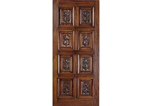 ETO Doors Montreal - Slab Mahogany Wood 8 Panel Hand Carved Entry Door, Front Door Or Barn Style Slinding Door, Available Pre Hung, Door/Slab Only, Size: 36