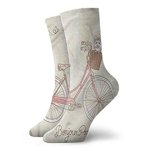 Novelty Funny Socks Dog,Postcard from Paris Bicycle,socks for toddler boys with grip