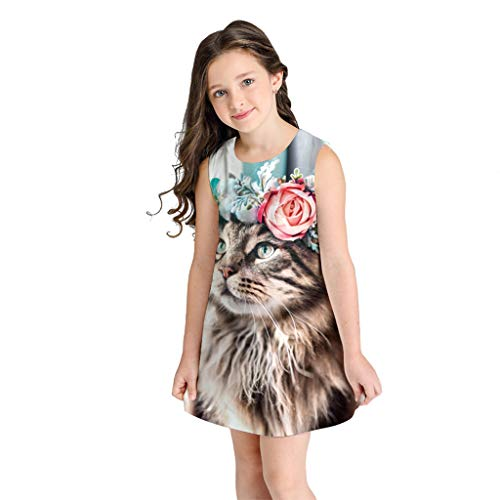 ❤Ywoow❤ for 7-10 Years Old Girls Dresses, Girl Summer Sleeveless 3D Print Dress Kid Skirt Cartoon Dresses Casual Clothes (Multicolor, 7-8 Years Old) ()