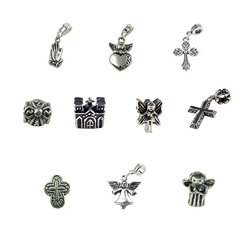 Praying Hands Cross Charm (Set of 10 Religious Charms & Beads includes Guardian Angel, Cross, Church, Praying Hands)