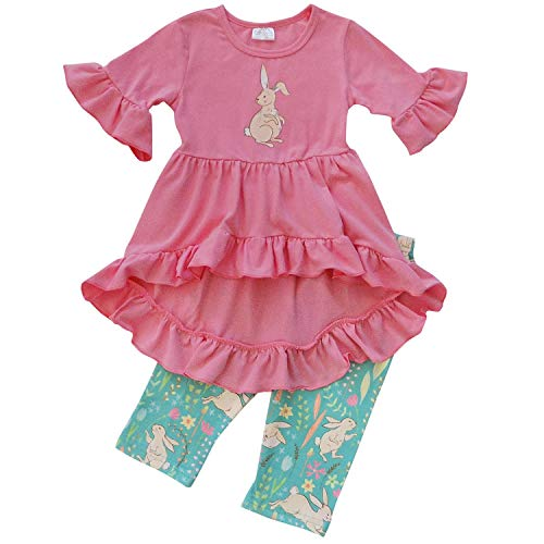 So Sydney Girls Toddler Baby Spring & Easter Romper, 2 Piece, or Boho Lace Ruffle Dress (5 (L), Bunny Hop Turquoise Hi Lo) ()