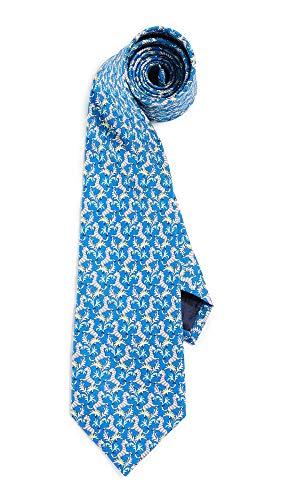 (Salvatore Ferragamo Men's Zebra Print Tie, Royal Blue, One Size )