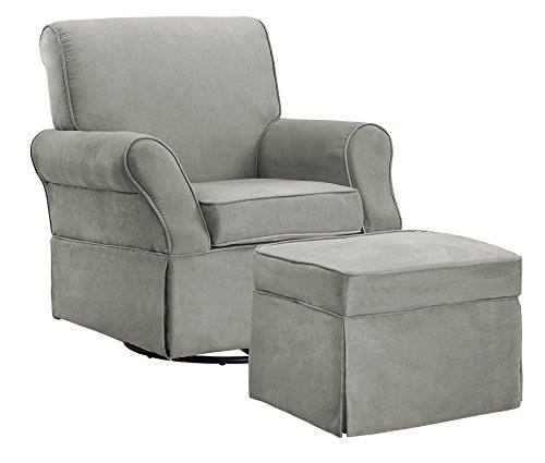 Baby Relax The Kelcie Nursery Swivel Glider Chair and Ottoman Set, Grey - Swivel Rocking Set