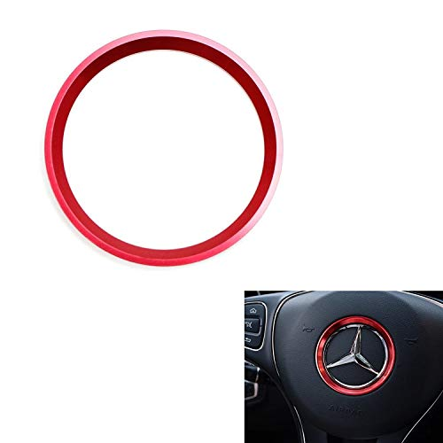 iJDMTOY (1) Sports Red Aluminum Steering Wheel Center Decoration Cover Trim For 2015-up Mercedes C E CLA GLA GLC GLE Class