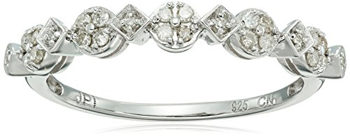 Sterling Silver Square Circle Diamond Band Ring (1/10cttw, I-J Color, I2-I3 Clarity), Size 6