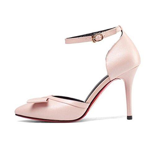 W&LM Cuero de mujer zapato propina Boca rasa palabra hebilla Corbata multa Sandalias de tacón alto Pink