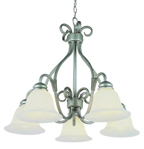 Trans Globe Lighting 6396 PW 5-Light Forged Iron Chandelier Light, Pewter - Pewter Chandelier