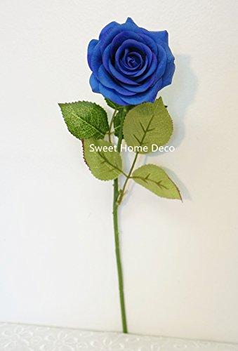 Sweet Home Deco 17'' Real Touch Rose Artificial Single Spray Set of 2 (Blue) (Blue Pot Silk Arrangement)